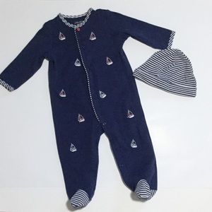 Little Me sailboat footie and hat set